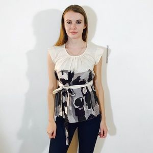MINT BELTED BRUSHSTROKE BLOUSE TOP 2 #M2